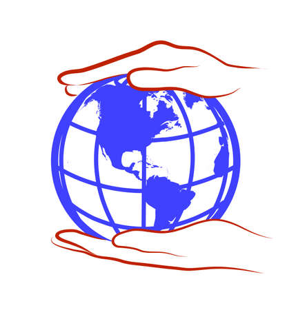 hands hold the globe Stock Vector - 19796289