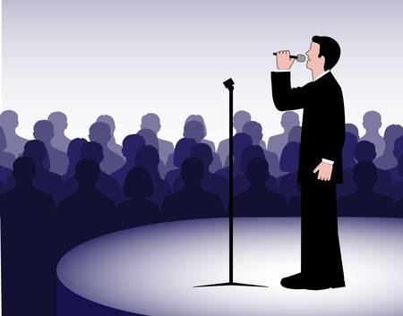 person before a microphone Stock Vector - 20070687