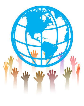 hands round the globe Stock Vector - 20070689