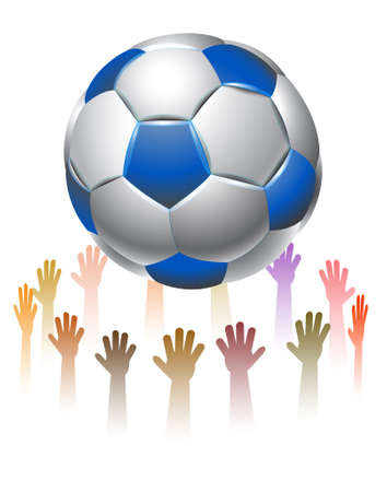 hands reach for a soccer ball Stock Vector - 20070724