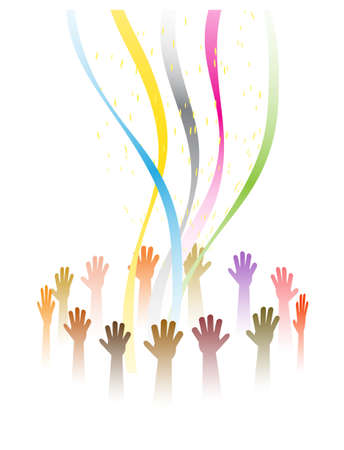 hands in a festive round dance Vector