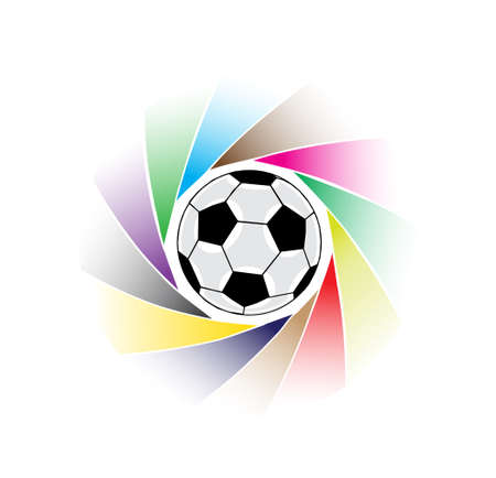soccerball: soccer ball among color beams