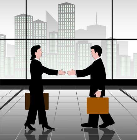businesswoman skirt: meeting of businessmen Illustration