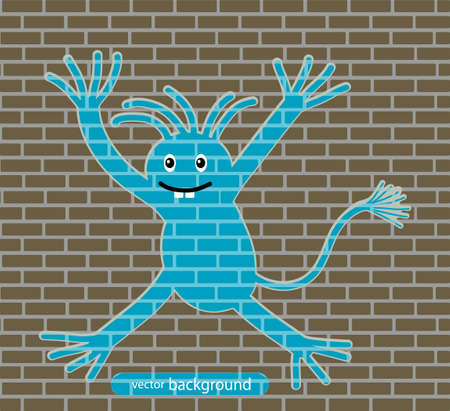 drawing on a brick wall Stock Vector - 20070740