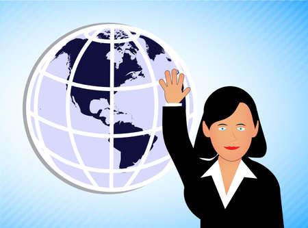girl the politician against the globe Vector