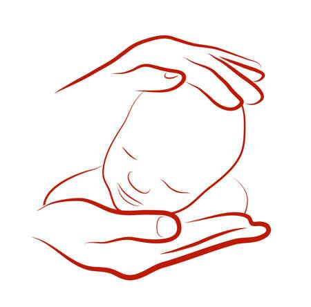 child care: hands hugging baby Illustration