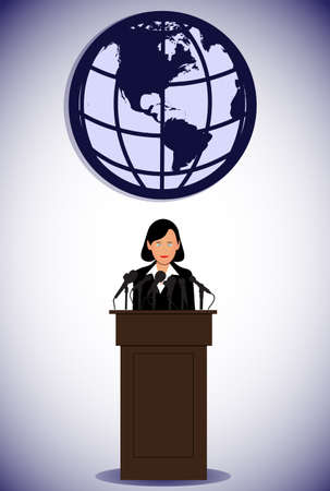 president's: woman politician in front of a microphone Illustration