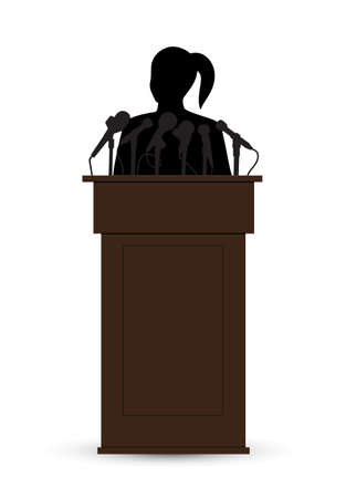 politician: woman on a tribune before a microphone