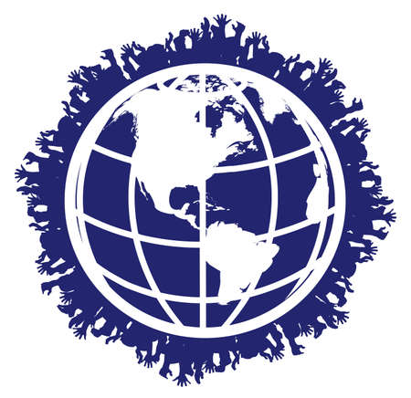 human hands round the globe Stock Vector - 20311220