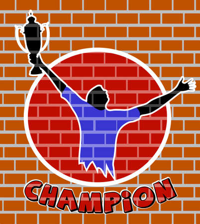 admirer: drawing of the champion on a brick wall