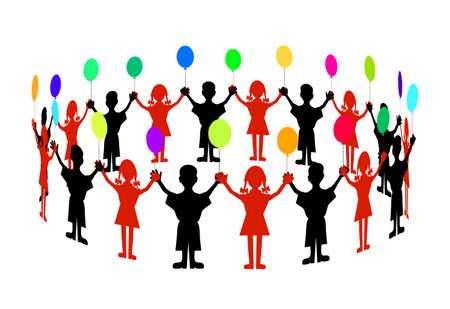 animated film: children with balloons Illustration