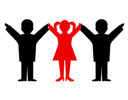 joined: people having joined hands Illustration