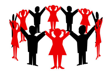 manos unidas: personas que unieron sus manos en un círculo Vectores
