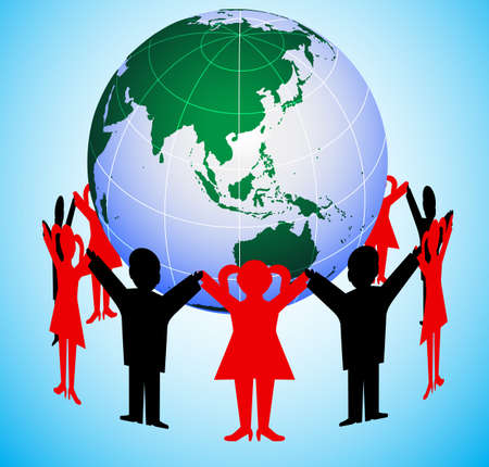 people round the globe Stock Vector - 20339373