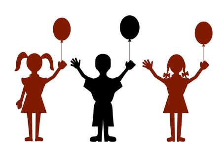 animated boy: children with balloons Illustration