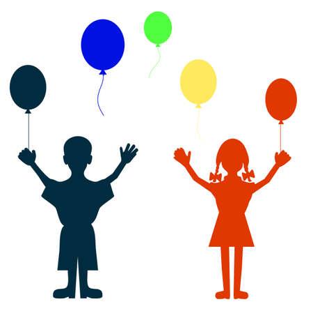 balloon girl: children with balloons Illustration