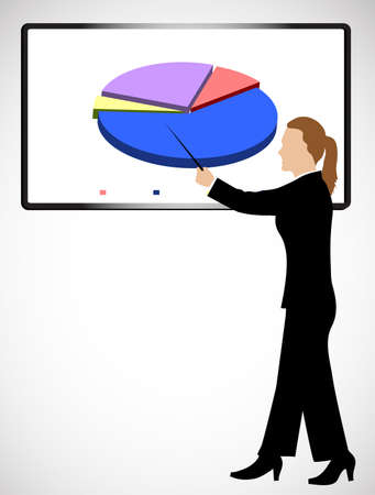 the explanation: business woman holds presentation Illustration