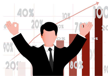 financial figures: successful businessman the representing economic growth Illustration