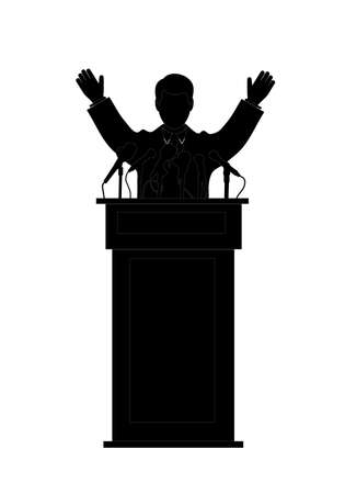 silhouette of the politician before a microphone Vector