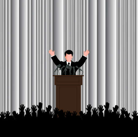 politician: silhouette of the politician before a microphone