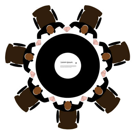 group of men having joined hands in a circle Stock Vector - 20579614