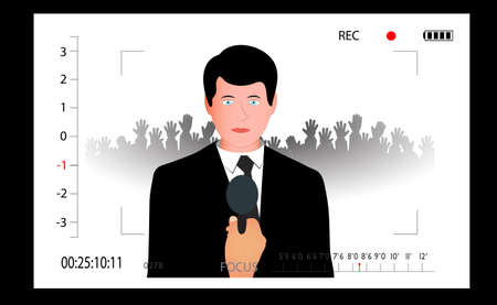 politician: male politician giving an interview to the camera s viewfinder Illustration