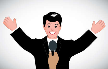 welcoming person before a microphone Vector