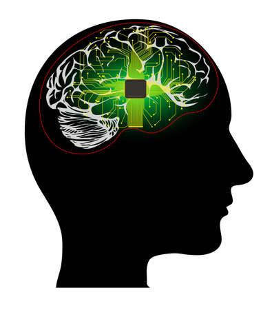 human head with the processor on a white background Illustration