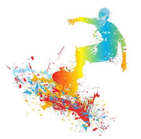 silhouette of the surfer from paint splashes Vector