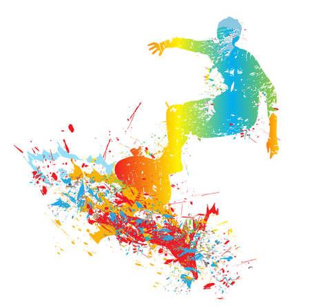 silueta de la persona que practica surf de las salpicaduras de pintura Ilustración de vector
