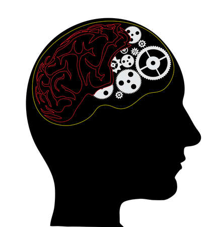 bionics: human head with gear wheels instead of brains on a white background