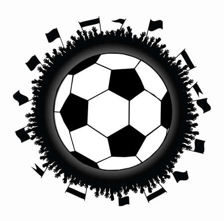 supporter: soccer ball in a circle from human hands