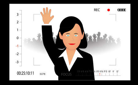 woman the politician in the camera viewfinder Vector