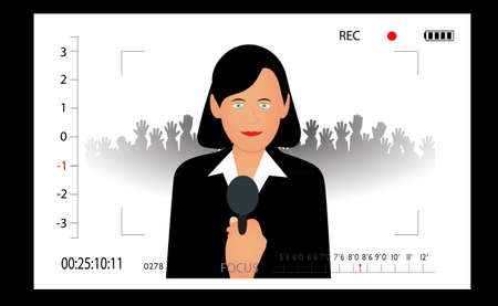 mass media: woman the politician giving to interview in the camera view-find Illustration