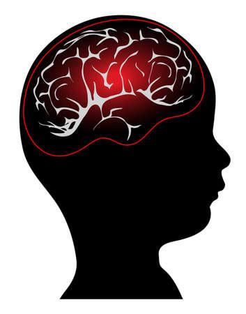 anatomy brain: testa del bambino s con Brain Imaging Vettoriali