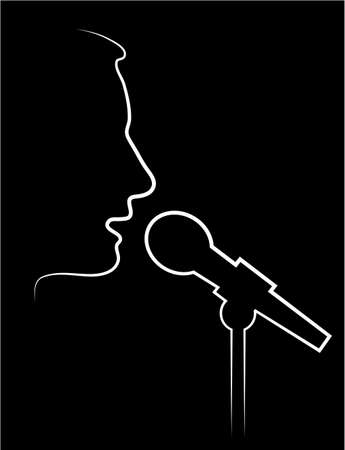 work popular: abstract contour of the performer at a microphone
