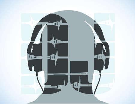 music dj: head with the inscription DJ headphones
