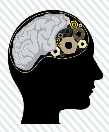 human head with the tool instead of the brain Stock Vector - 20775095