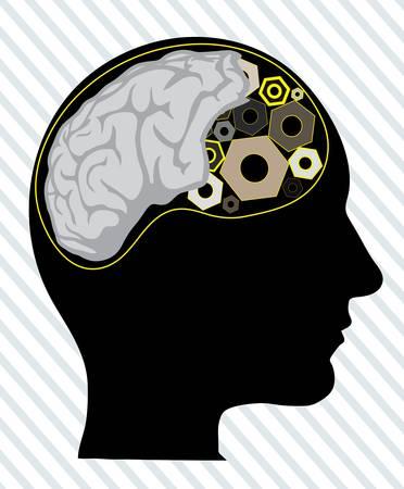 bionics: human head with the tool instead of the brain