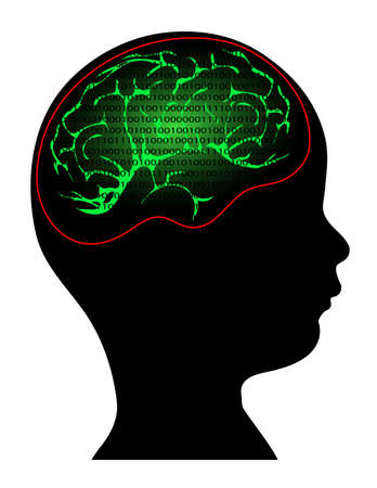 bionics: digital information in the mind of a child Illustration
