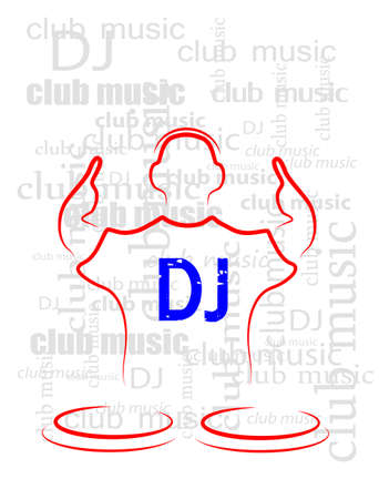 silhouette of the DJ on a seamless background from the text Stock Vector - 20935632