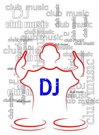 disk jockey: silhouette of the DJ on a seamless background from the text