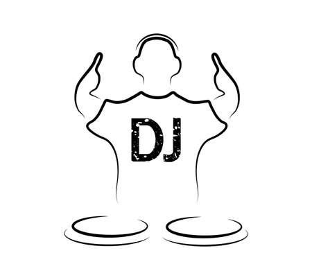 музыка: силуэт DJ на белом фоне Иллюстрация