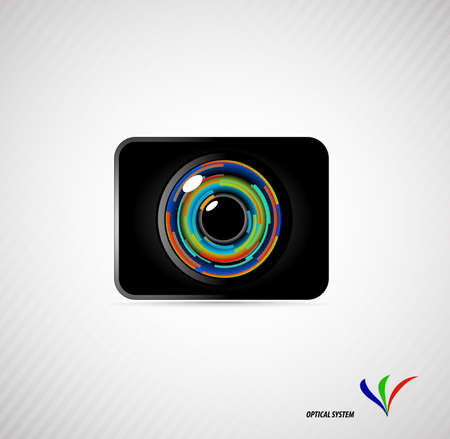 camera lens on a gray background Stock Vector - 20935639