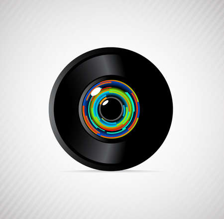 focus: camera lens on a gray background