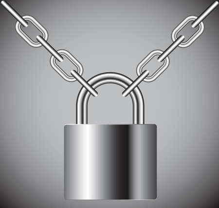 lock on a chain on a gray background Vector