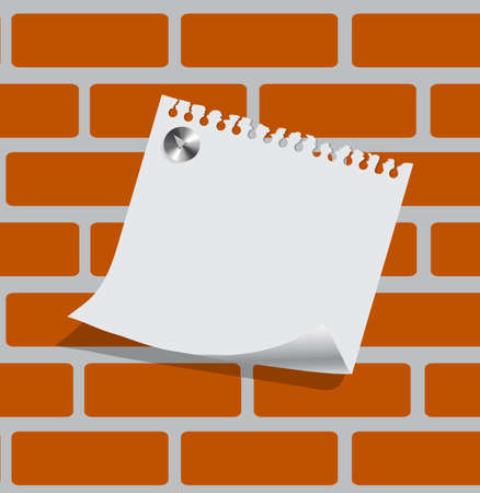 sheet of paper on a brick wall with a place for your text Stock Vector - 21076766