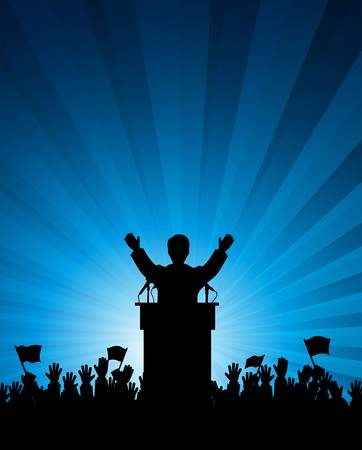 public speaker: silhouette of the person among public