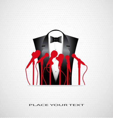 fashionable suit before a microphone on a seamless background with a place for your text Vector