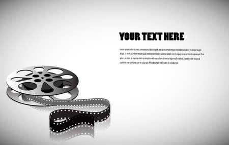 cine-film on a gray background with space for your text Vector